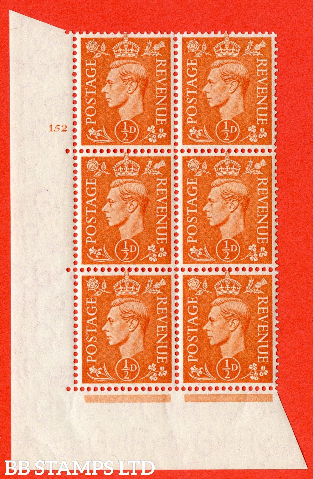 """SG. 503. Q3. ½d Pale Orange. A superb UNMOUNTED MINT """" No Control cylinder 152 no dot """" control block of 6 with perf type 5 E/I."""
