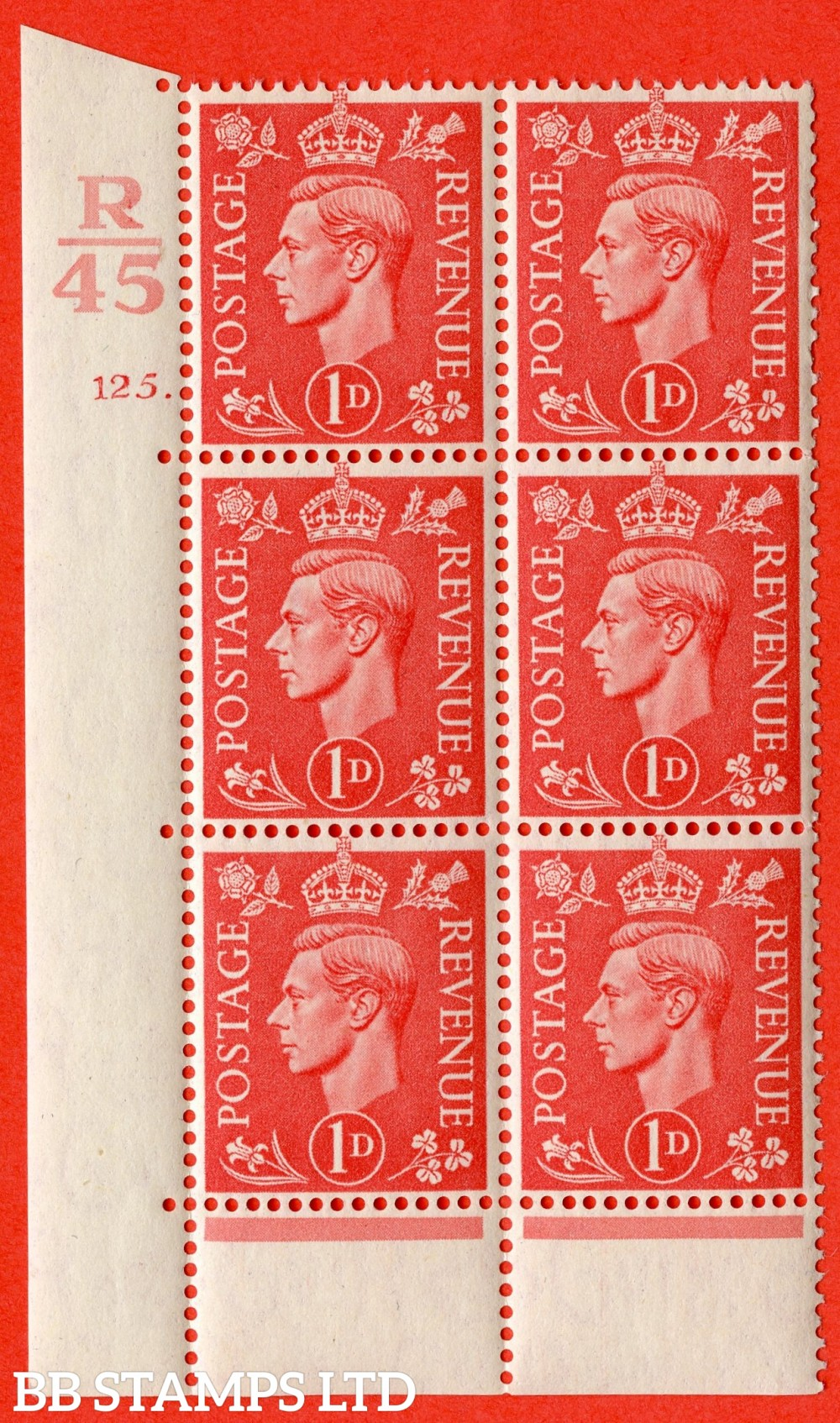 "SG. 486. Q5. 1d Pale scarlet. A superb UNMOUNTED MINT "" Control R45  cylinder 125 dot "" control block of 6 with perf type 6B E/P."
