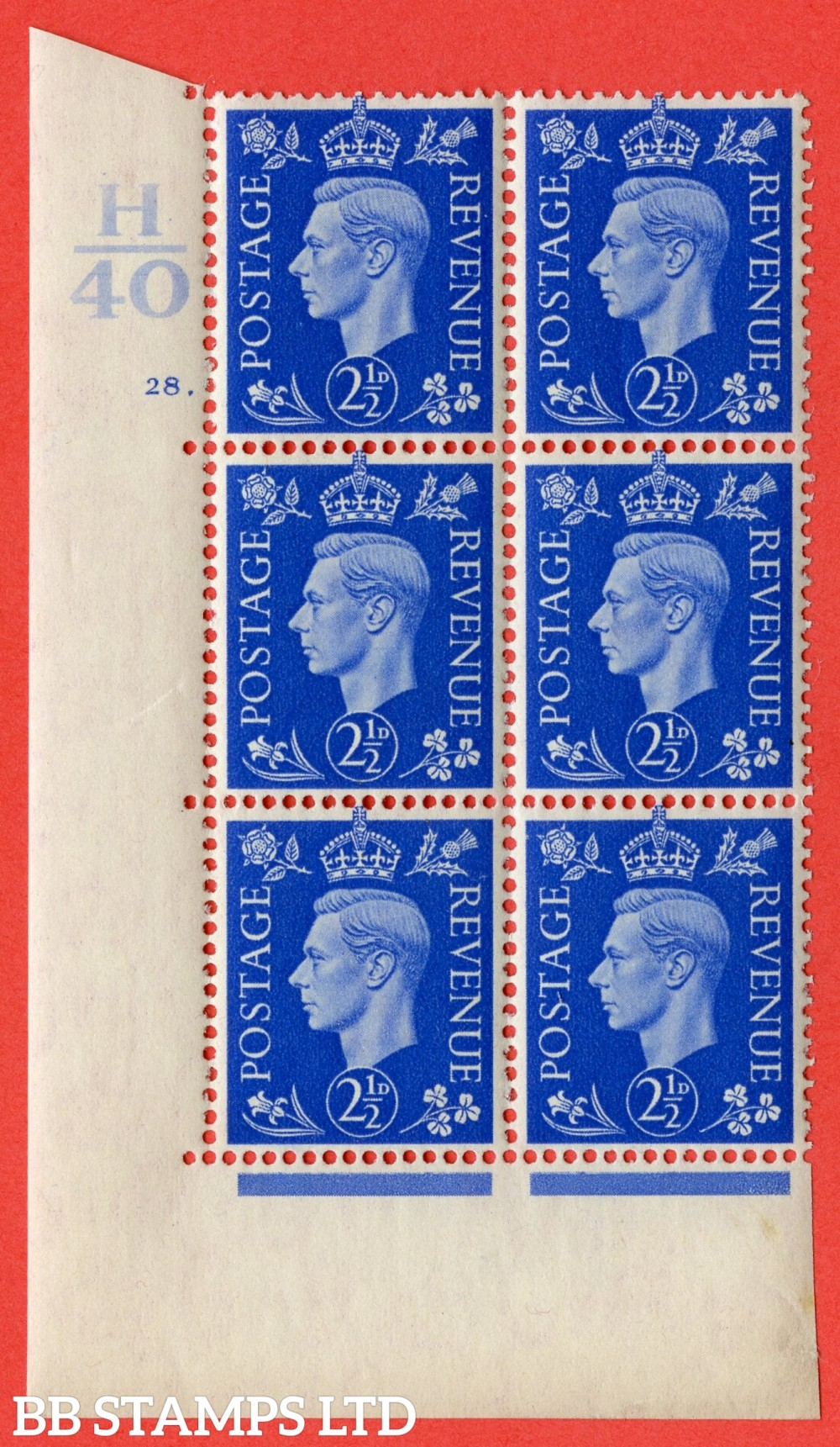 "SG. 466. Q13. 2½d Ultramarine. A superb UNMOUNTED MINT "" Control H40 cylinder 28 dot "" control block of 6 with perf type 5 E/I."