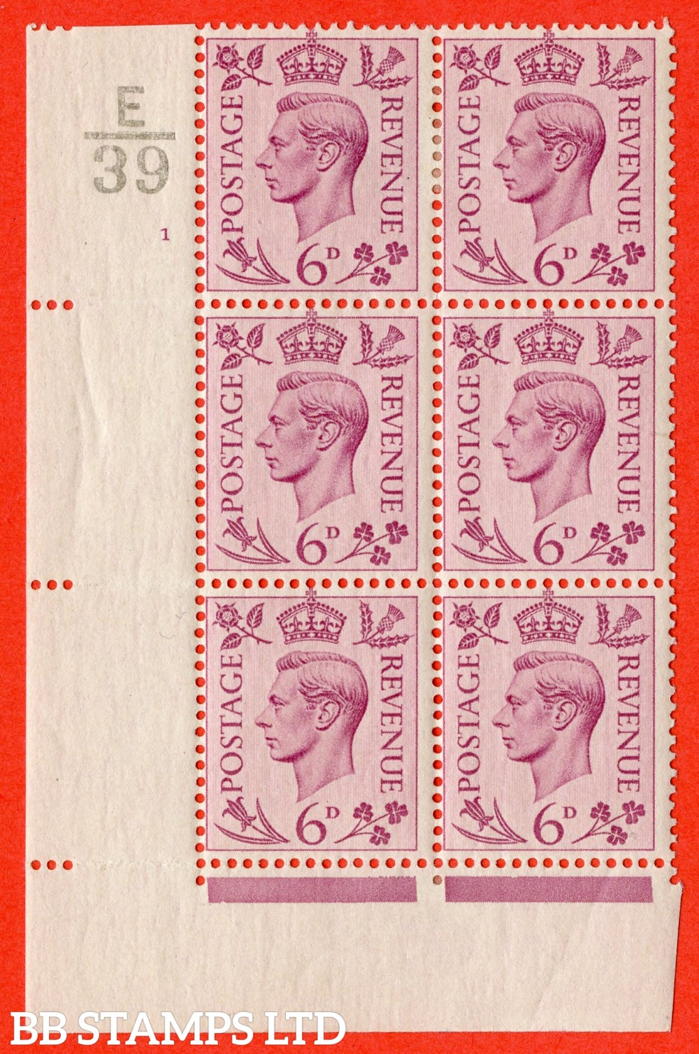 """SG. 470. Q22. 6d Purple. A fine lightly mounted mint """" Control E39 cylinder 1 no dot """" control block of 6 with perf type 2 E/I"""