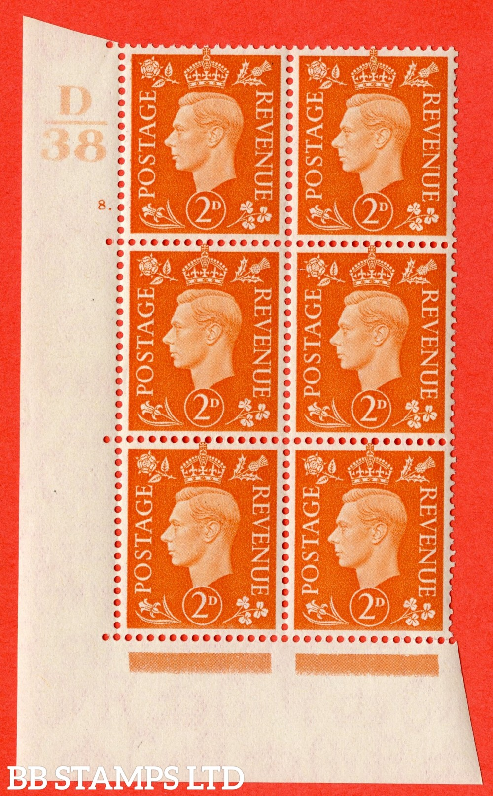"SG. 465. Q10. 2d Orange. A superb UNMOUNTED MINT "" Control D38 cylinder 8 dot "" control block of 6 with perf type 5 E/I."