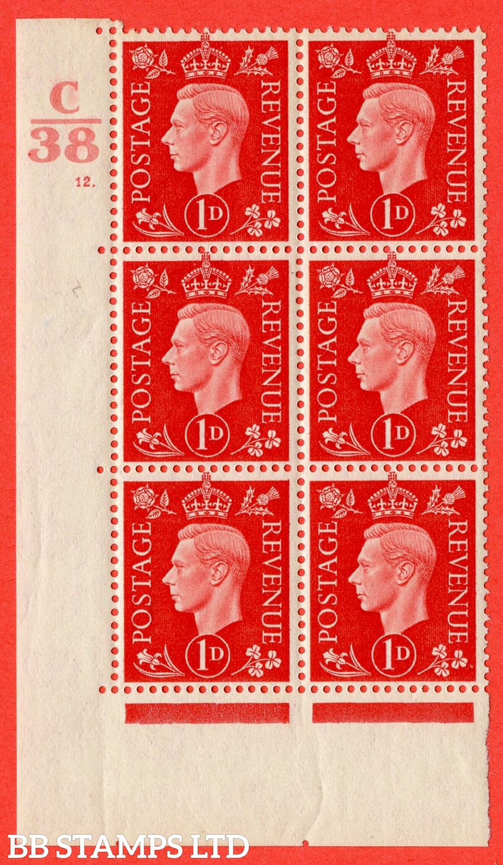 "SG. 463. Q4. 1d Scarlet. A fine lightly mounted mint "" Control C38 cylinder 12 dot "" block of 6 with perf type 5 E/I with marginal rule."