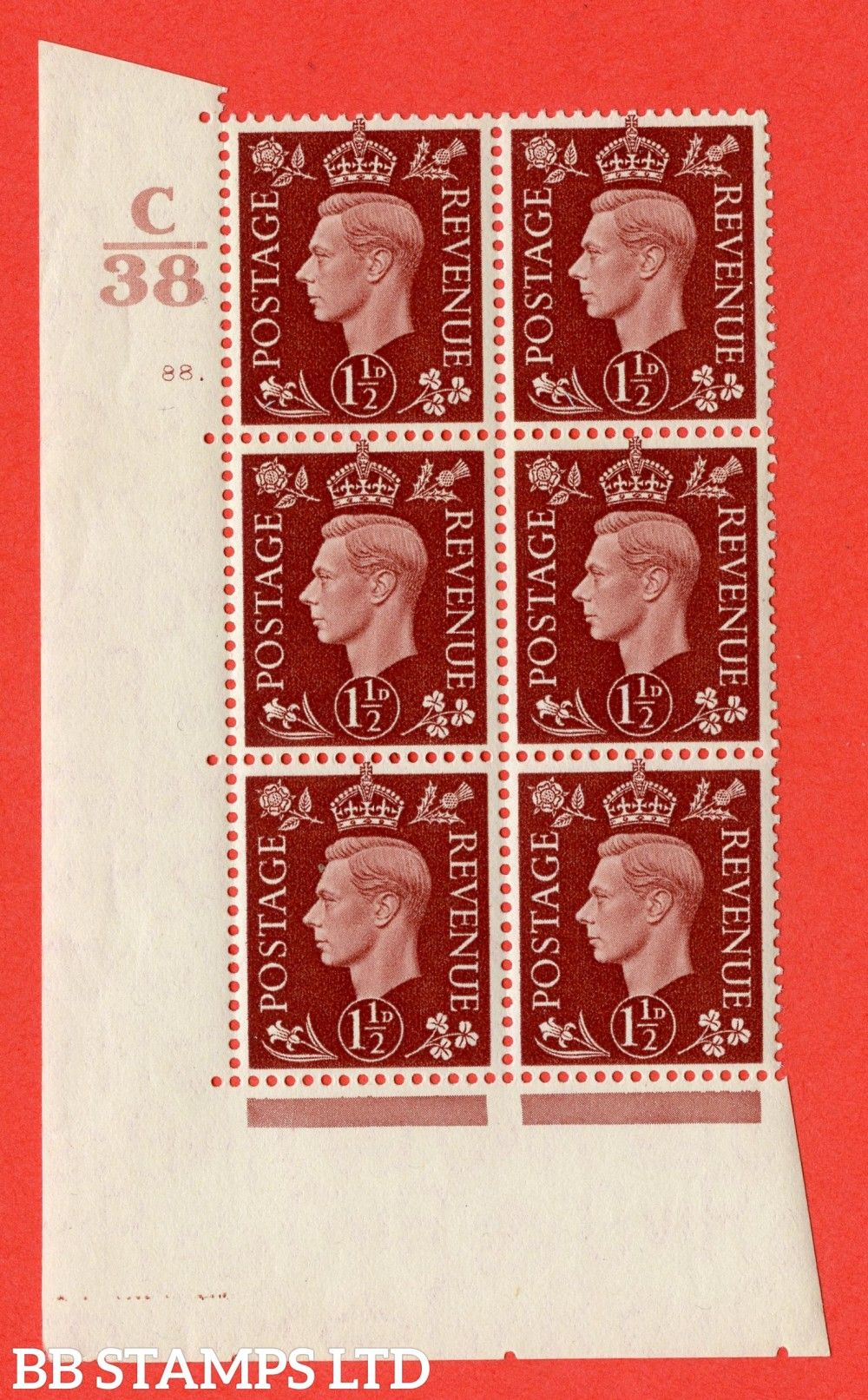 """SG. 464. Q7. 1½d Red-Brown. A superb UNMOUNTED MINT """" Control C38 cylinder 88 dot """" block of 6 with perf type 5 E/I."""