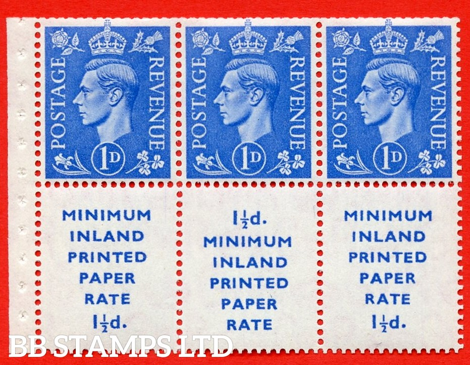 """SG. 504d. QB18. 1d ultramarine. A fine MOUNTED MINT example with """" MINIMUM INLAND PRINTED PAPER RATE """" 17 mm high. Perf type """" I """". Trimmed Perf."""