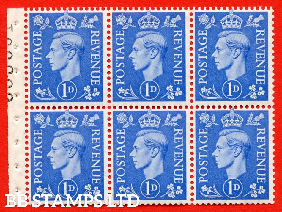 """SG. 504f. QB15. 1d ultramarine. Type 1c. A fine UNMOUNTED MINT complete booklet pane of 6. Perf type """" I """". Good Perfs."""