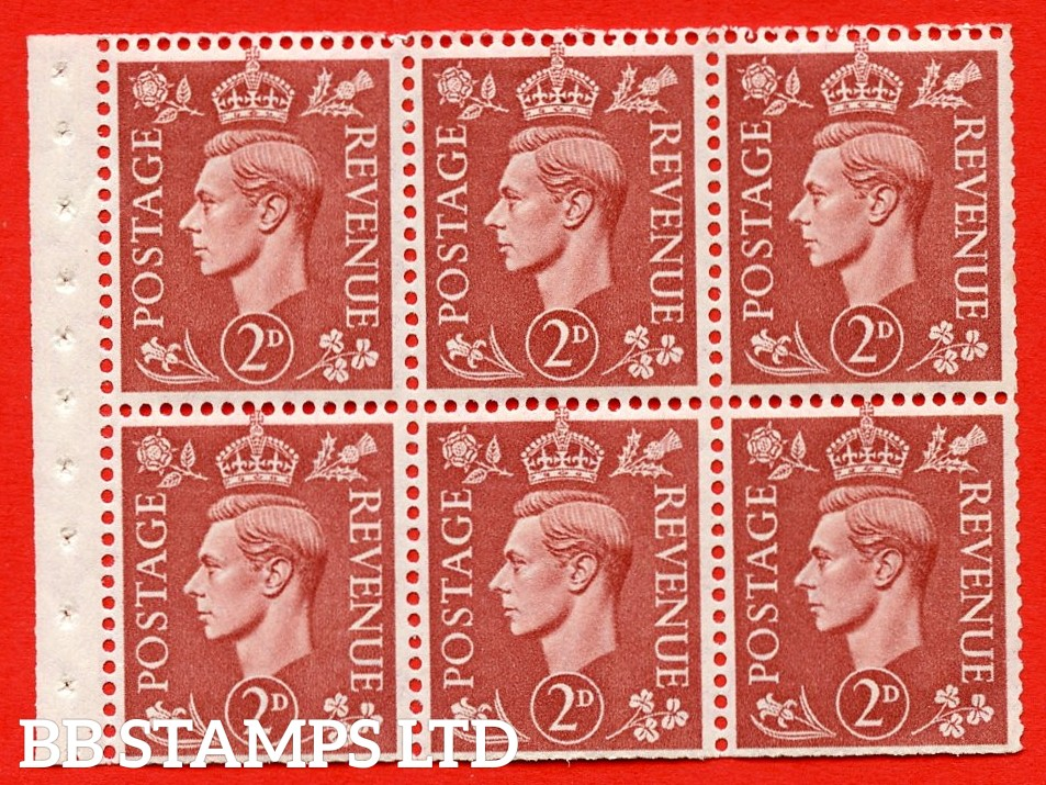 """SG. 506d. QB31. 2d pale red brown. A superb MOUNTED MINT complete booklet pane. Perf type """" I """". Trimmed Perfs."""