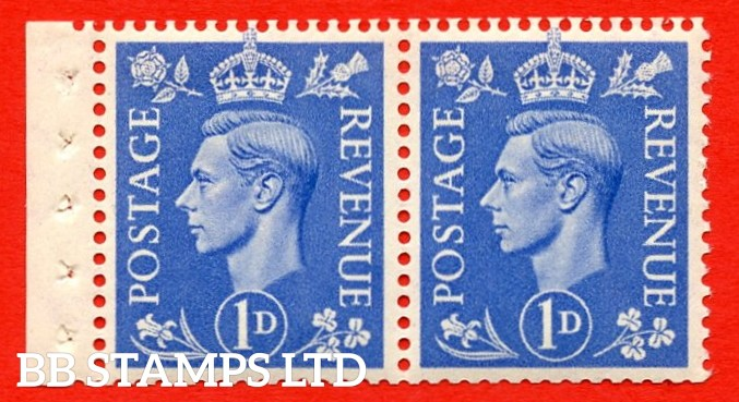 """SG. 504. QB17. 1d ultramarine. A fine UNMOUNTED MINT complete booklet pane of 2. Perf type """" E  """". Good Perfs."""