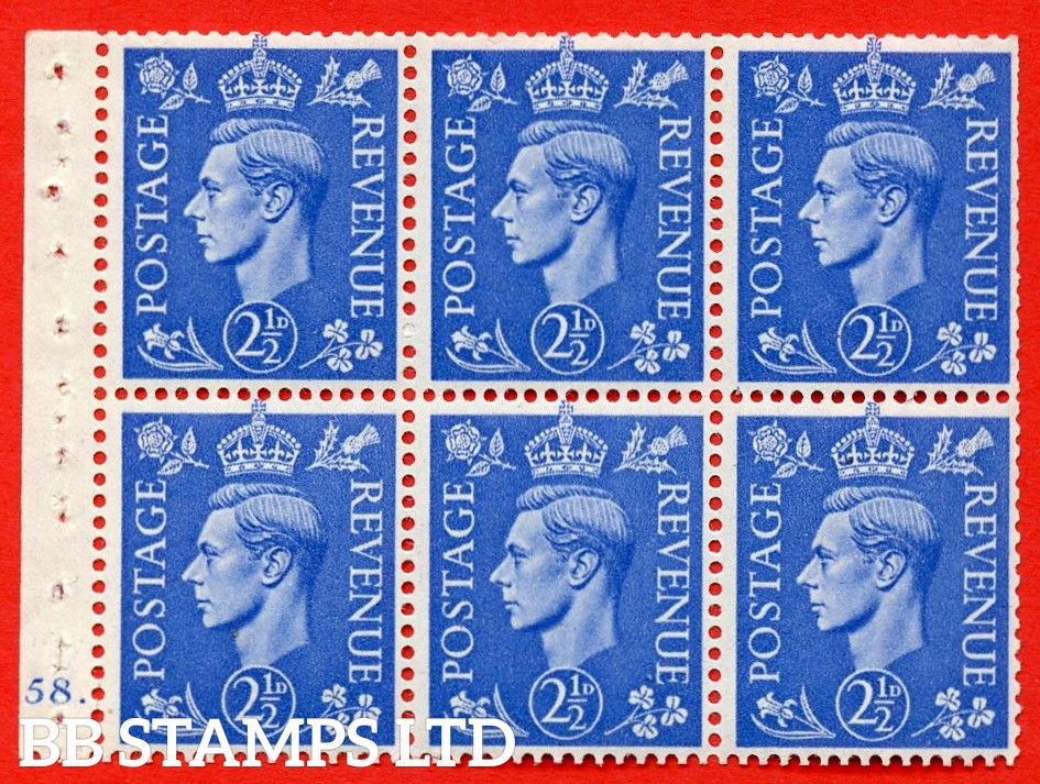 """SG. 489f. QB33. 2½d blue. A fine UNMOUNTED MINT complete Cylinder pane of 6 J58 dot. Perf type """"B6(IE)"""". Trimmed Perfs."""