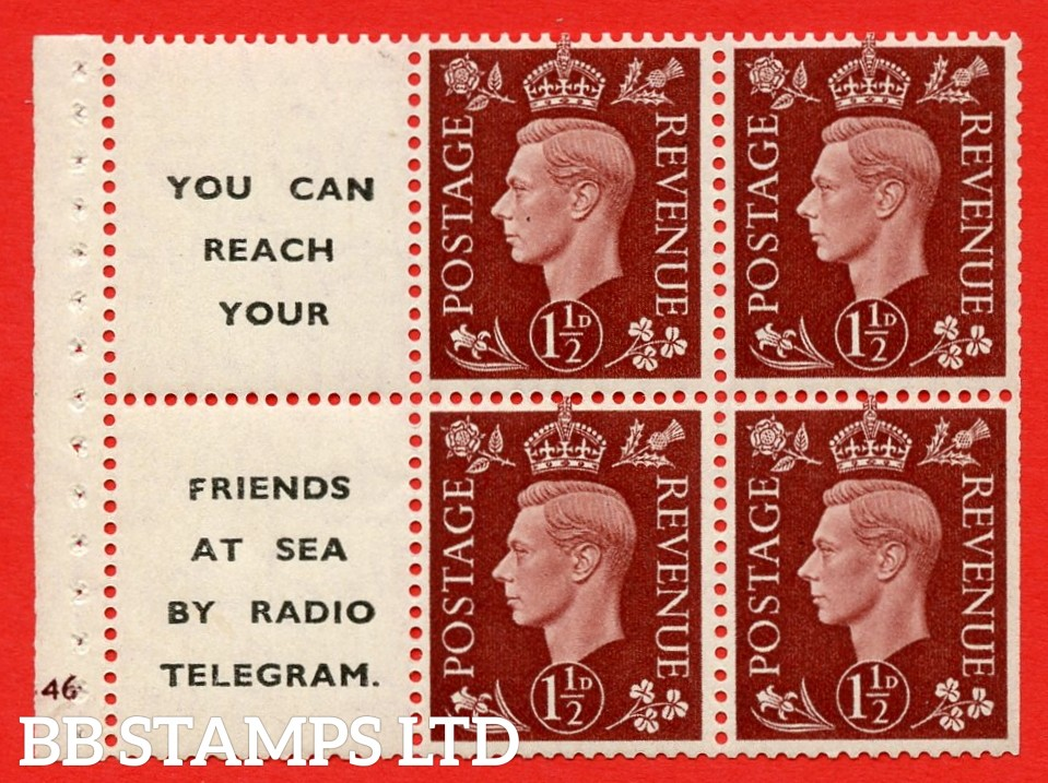 """QB23 Perf Type B3(I) (12) 1½d Red-Brown x 6 Pane, UNMOUNTED MINT. Cylinder Pane G46 no dot  ( SG. 464b ) Perf type B3(I). """" You can reach your / friends at sea by Radio Telegram  """". Trimmed Perfs."""