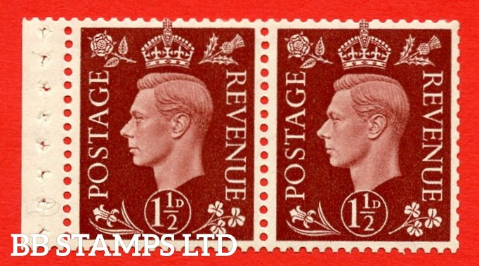 """SG. 464 d. QB22. 1½d Red - Brown. A fine UNMOUNTED MINT complete booklet pane. Perf type """" P """". Good Perfs."""