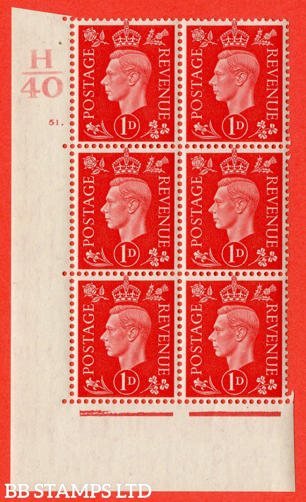 "SG. 463. Q4. 1d Scarlet. A superb UNMOUNTED MINT "" Control H40 cylinder 51 dot "" block of 6 with perf type 5 E/I."