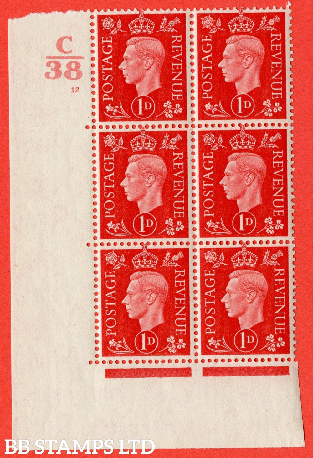"""SG. 463. Q4. 1d Scarlet. A superb UNMOUNTED MINT """" Control C38 cylinder 12 no dot """" block of 6 with perf type 5 E/I."""
