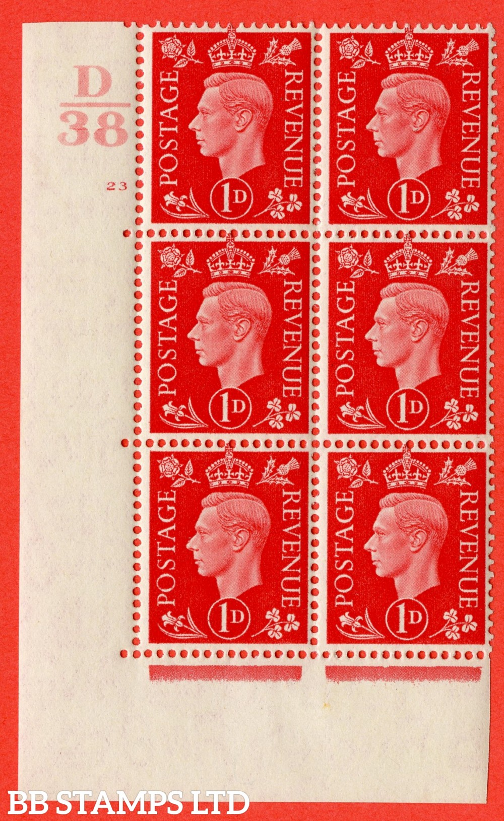 "SG. 463. Q4. 1d Scarlet. A fine lightly mounted mint "" Control D38 cylinder 23 no dot "" block of 6 with perf type 5 E/I."