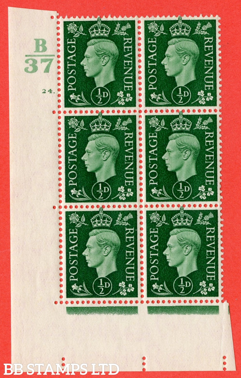 "SG. 462. Q1. ½d Green. A superb UNMOUNTED MINT "" Control B37 cylinder 24 dot "" block of 6 with perf type 5 E/I."