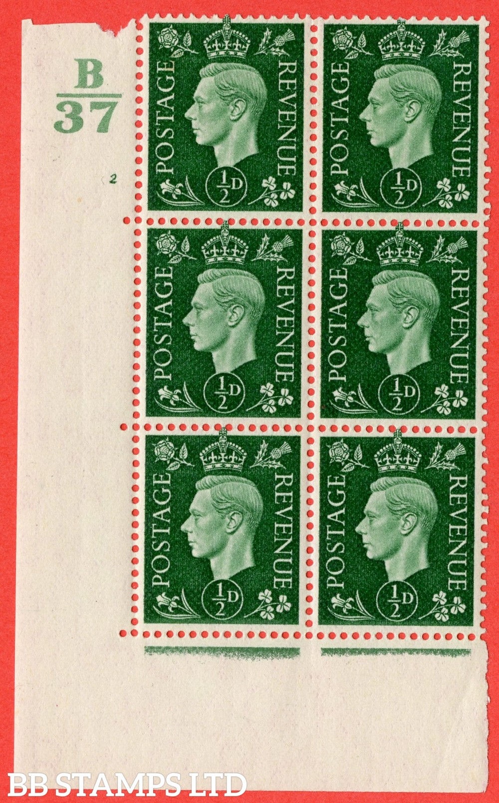 """SG. 462. Q1. ½d Green. A fine lightly mounted mint """" Control B37 cylinder 2 no dot """" block of 6 with perf type 5 E/I."""