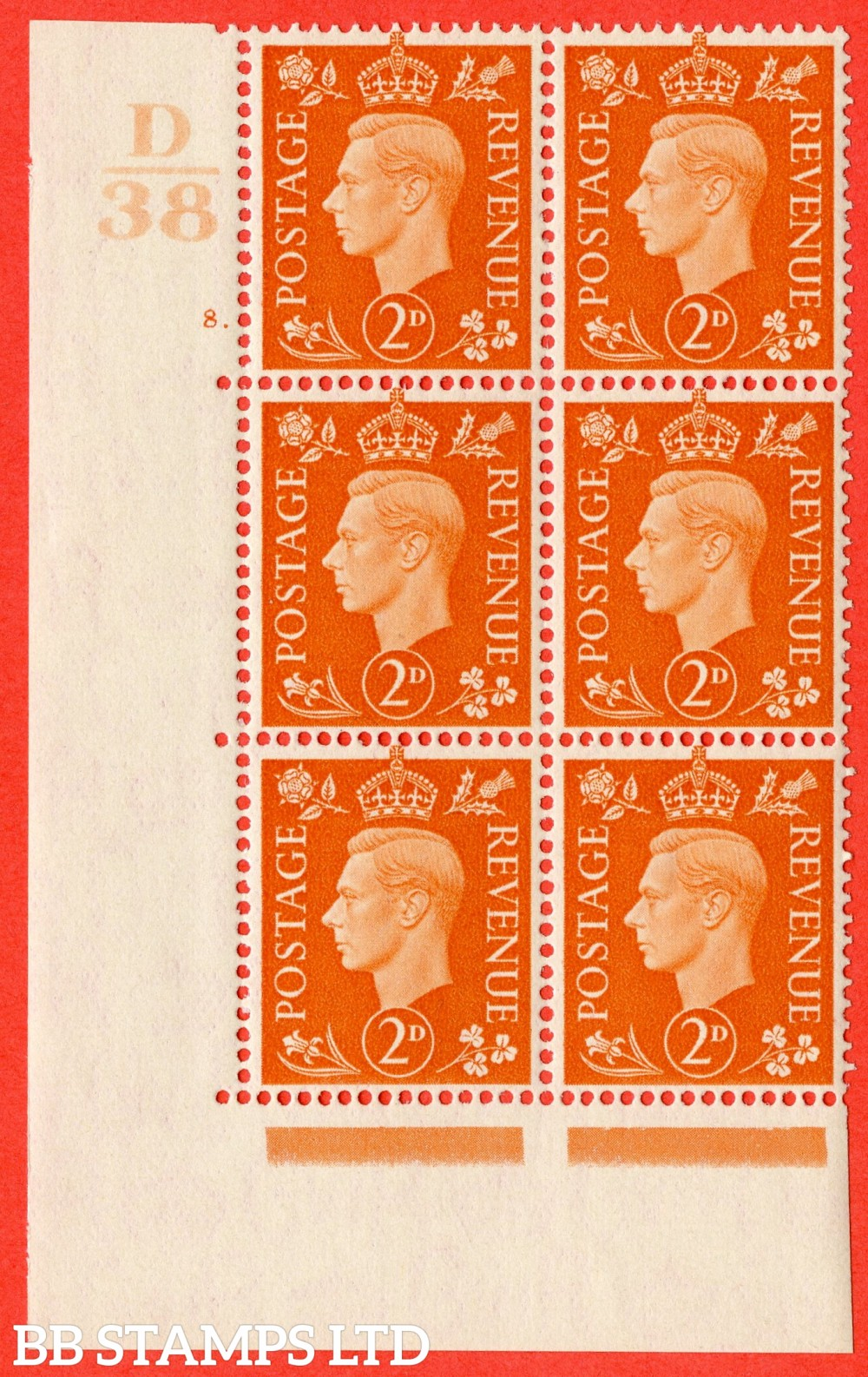 "SG. 465. Q10. 2d Orange. A superb UNMOUNTED MINT"" Control D38 cylinder 8 dot "" control block of 6 with perf type 5 E/I."