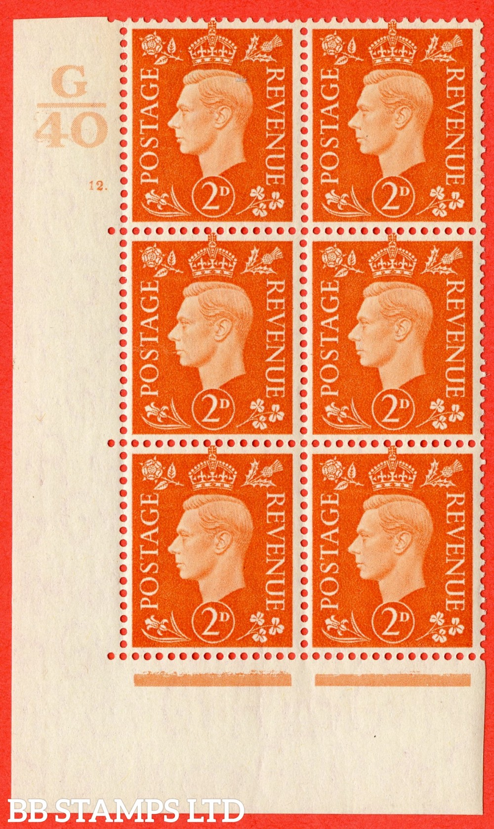 "SG. 465. Q10. 2d Orange. A fine lightly mounted mint "" Control G40 cylinder 12 dot "" control block of 6 with perf type 5 E/I."