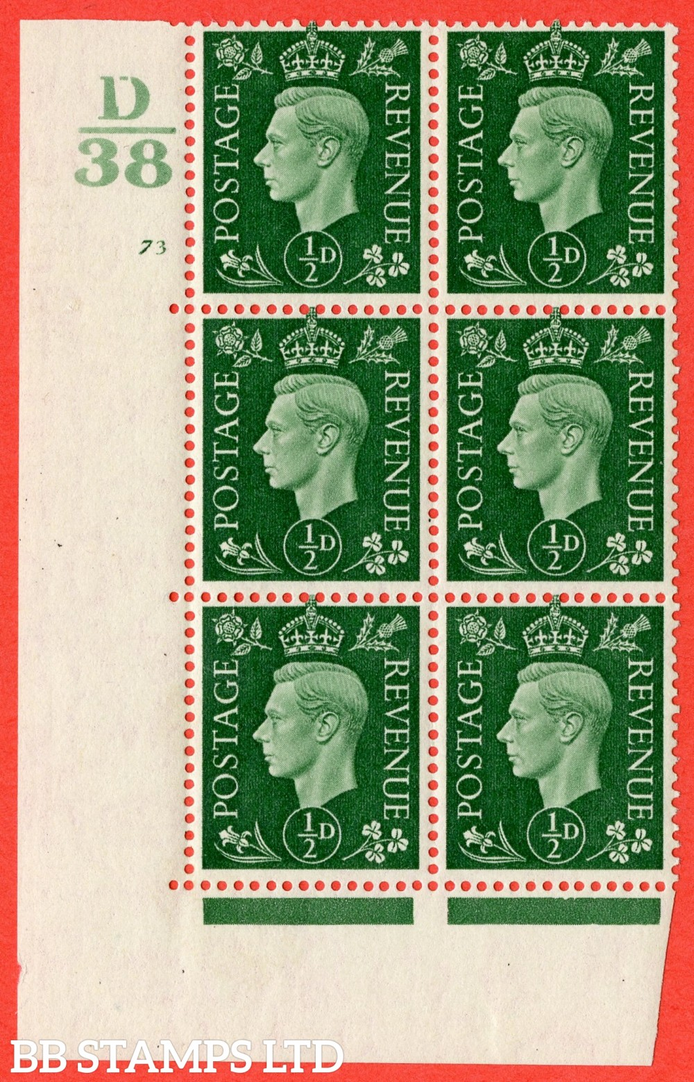 "SG. 462. Q1. ½d Green. A superb UNMOUNTED MINT "" Control D38 cylinder 73 no dot "" block of 6 with perf type 5 E/I."