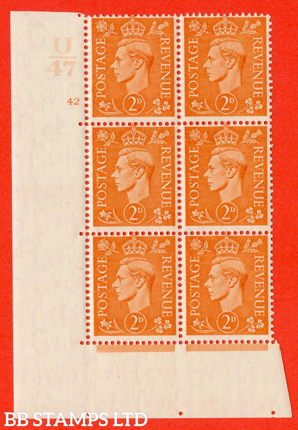 "SG. 488. Q11. 2d Pale Orange. A fine lightly mounted mint "" Control U47 cylinder 42 no dot "" control block of 6 with perf type 5 E/I."