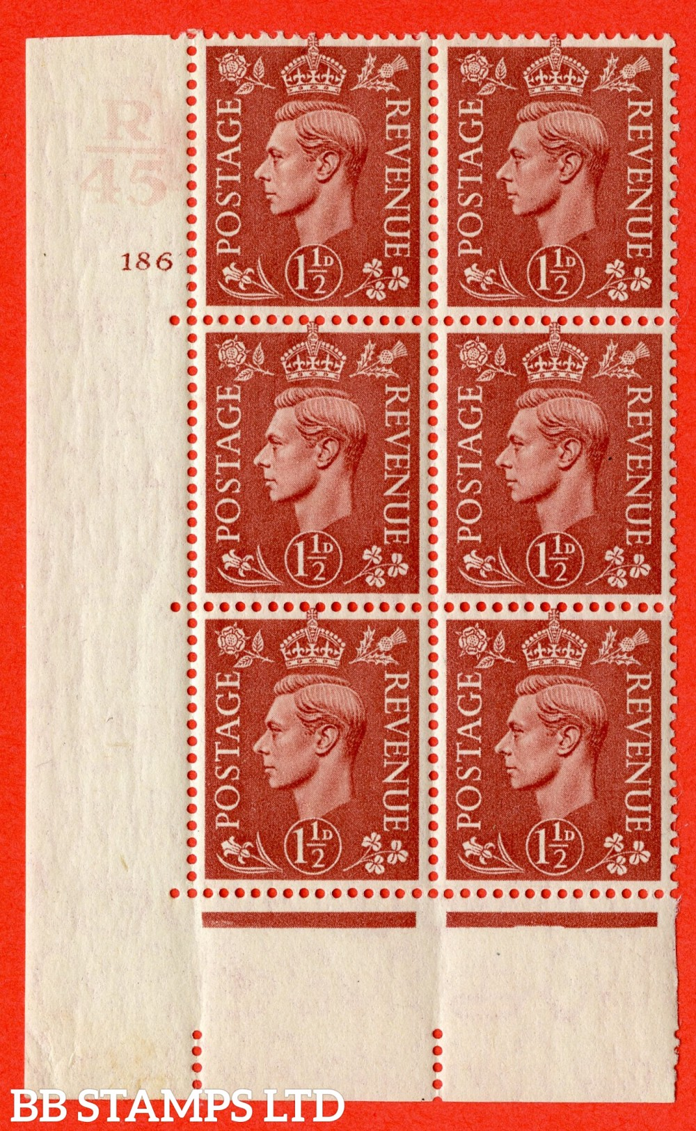 "SG. 487. Q8. 1½d Pale Red-Brown. A fine lightly mounted mint "" Control R45 cylinder 186 no dot "" control block of 6 with perf type 5 E/I."