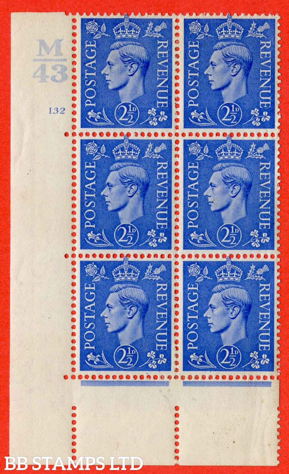 "SG. 489. Q14. 2½d Light ultramarine. A fine mounted mint "" Control M43 cylinder 132 no dot "" control block of 6 with perf type 5 E/I."