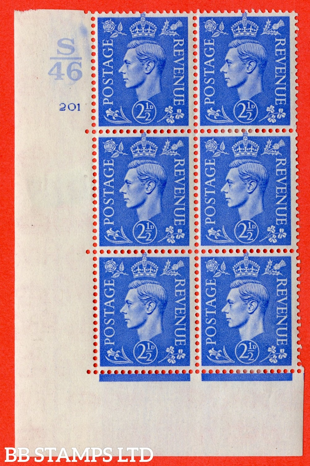 "SG. 489. Q14. 2½d Light ultramarine. A find lightly mounted mint "" Control S46 cylinder 201 no dot "" control block of 6 with perf type 5 E/I."