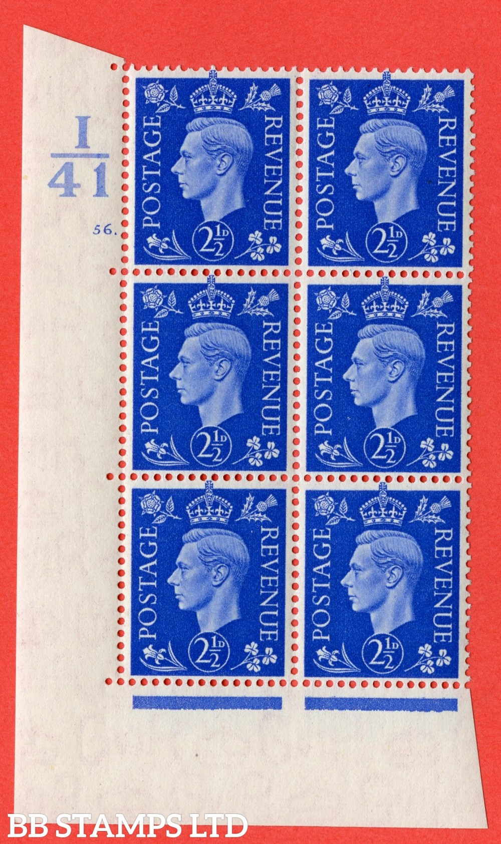 """SG. 466. d. Q13. 2½d Ultramarine.  A superb UNMOUNTED MINT """" Control I41 cylinder 56 dot """" control block of 6 with perf type 5 E/I."""
