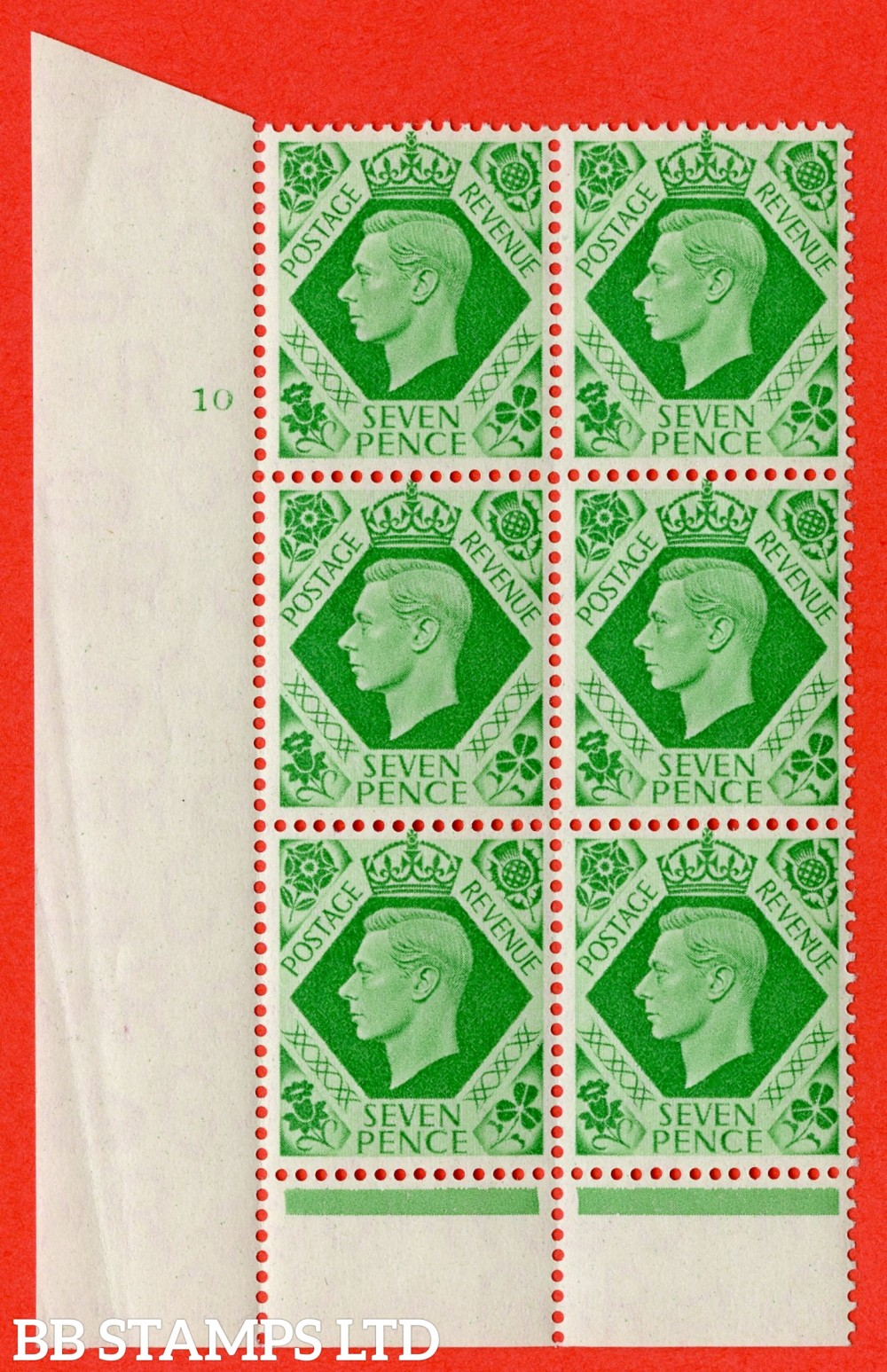 """SG. 471. Q23 c. 7d Emerald-Green. A superb UNMOUNTED MINT """" No Control cylinder 10 no dot """" control block of 6 with perf type 6 I/P with listed variety """" Damaged N in Revenue """" Row 20/2."""