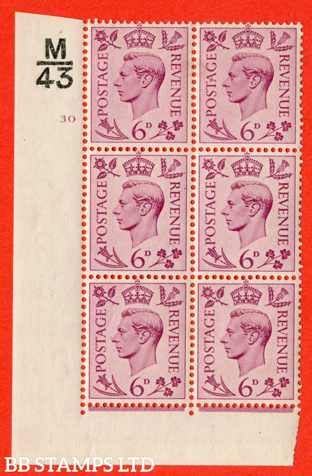 """SG. 470. Q22. 6d Purple. A fine lightly mounted mint """" Control L42 cylinder 32 no dot """" control block of 6 with perf type 2 E/I."""