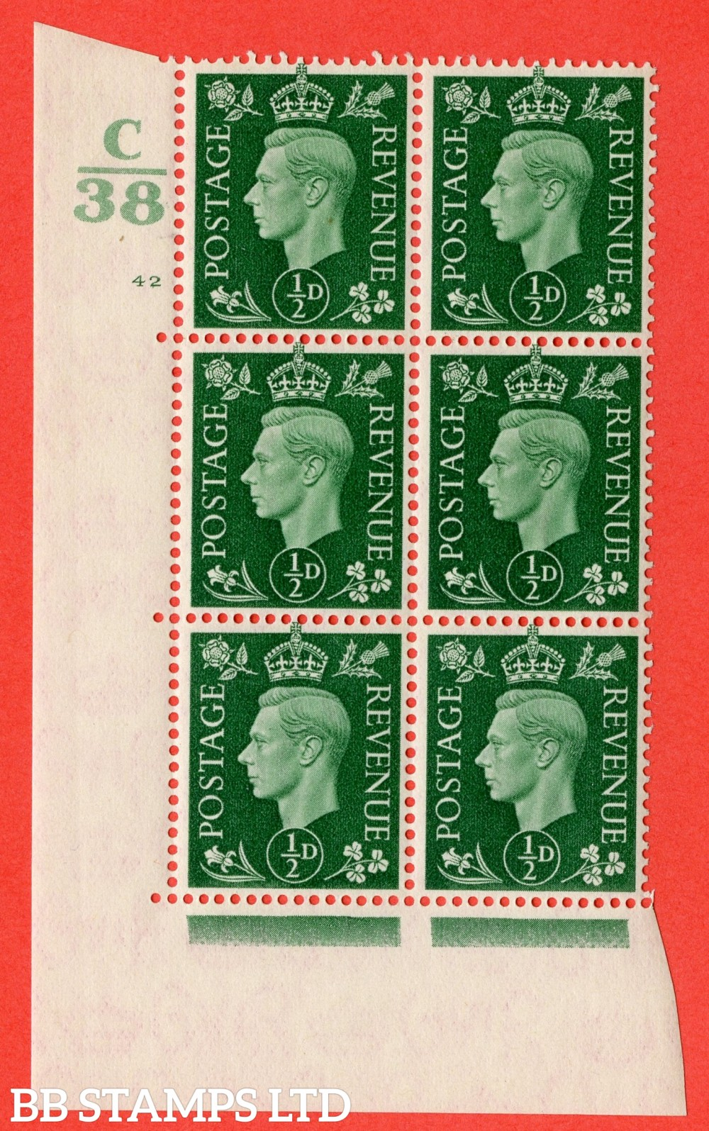 "SG. 462. Q1. ½d Green. A fine lightly mounted mint "" Control C38 cylinder 42 no dot "" block of 6 with perf type 5 E/I with marginal rule."