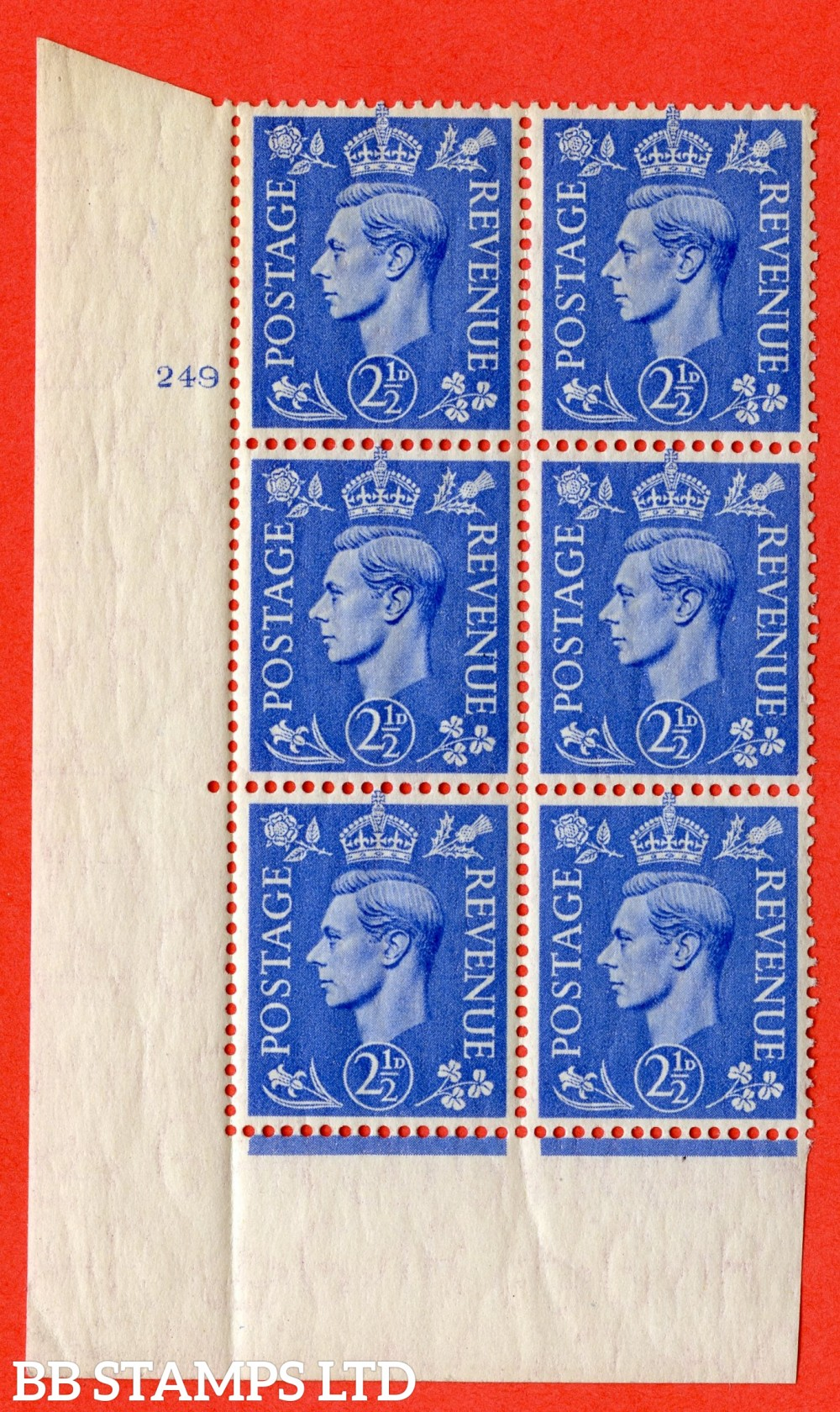"SG. 489. Q14. 2½d Light ultramarine. A superb UNMOUNTED MINT "" No Control cylinder 248 no dot "" control block of 6 with perf type 5AE AE/I"