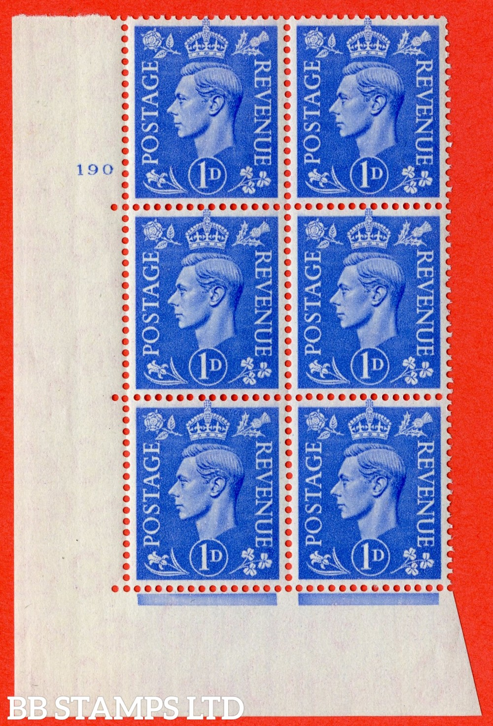 """SG. 504. Q6. 1d Light ultramarine. A superb UNMOUNTED MINT """" No Control cylinder 190 no dot """" control block of 6 with perf type 5 E/I"""