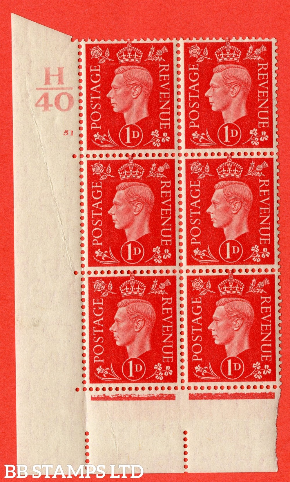 "SG. 463. Q4. 1d Scarlet. A superb UNMOUNTED MINT "" Control H40 cylinder 51 no dot "" block of 6 with perf type 5 E/I with marginal rule."