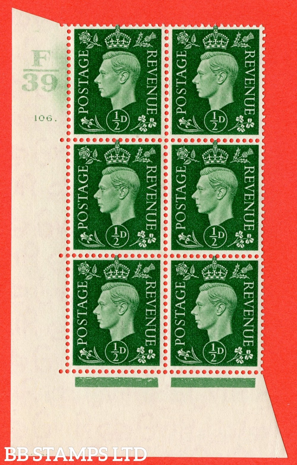 """SG. 462. Q1. ½d Green. A fine lightly mounted mint """" Control F39 cylinder 106 (ii) dot """" block of 6 with perf type 5 E/I with marginal rule."""