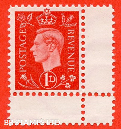"""SG. 463. 1d Scarlet. """" GERMAN PROPAGANDA FORGERY """". A fine unused example of this famous wartime forgery produced at the Sachsenhausen Concentration Camp."""