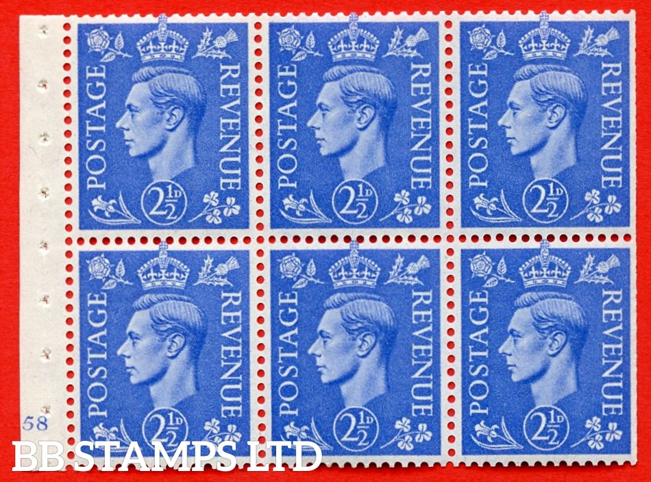 """SG. 489f. QB33. 2½d blue. A fine UNMOUNTED MINT complete Cylinder pane of 6 J58 No dot. Perf type """"B3(I)"""". Trimmed Perfs."""