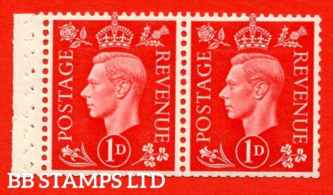 SG. 463 c. QB12. 1d Scarlet. A fine UNMOUNTED MINT booklet pane of 2. Perf type E. Good perfs.