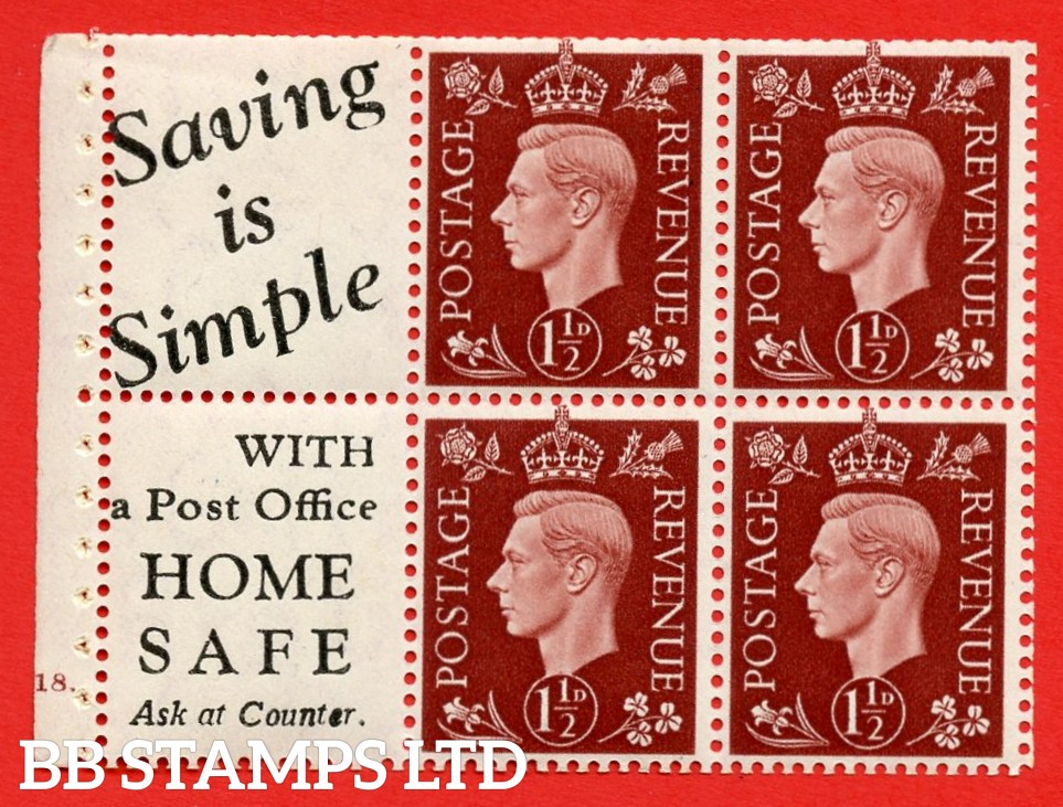 """QB23 Perf Type B4B(E) (10) 1½d Red-Brown x 6 Pane, UNMOUNTED MINT. Cylinder Pane G18 dot ( SG. 464b ) Perf type B4B(E). """" Saving is Simple / (""""is"""" 4.5mm. High) Home Safe """". Trimmed Perfs."""
