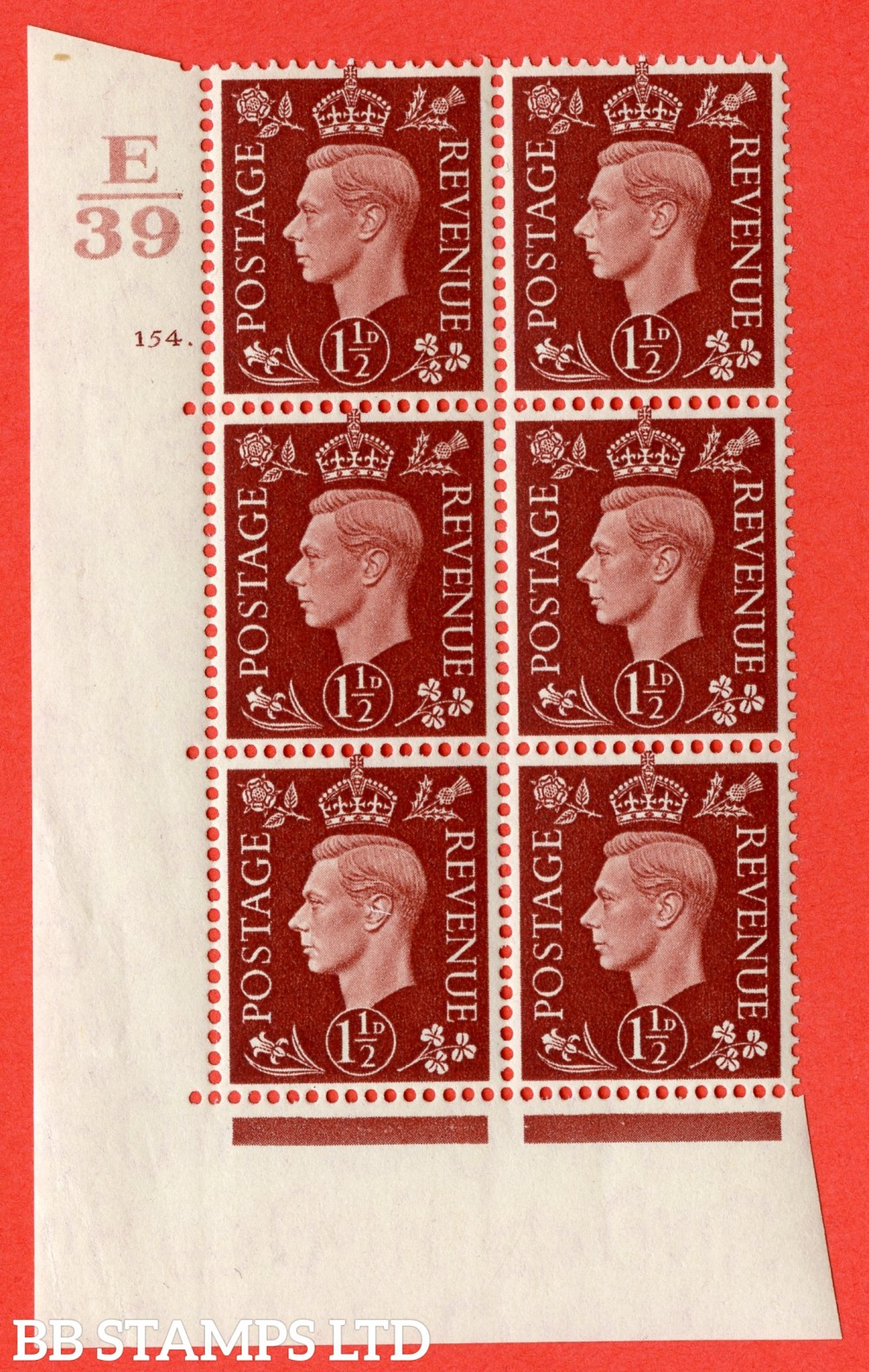 """SG. 464. Q7. 1½d Red-Brown. A fine lightly mounted mint  """" Control E39 cylinder 154 dot """" block of 6 with perf type 5 E/I."""