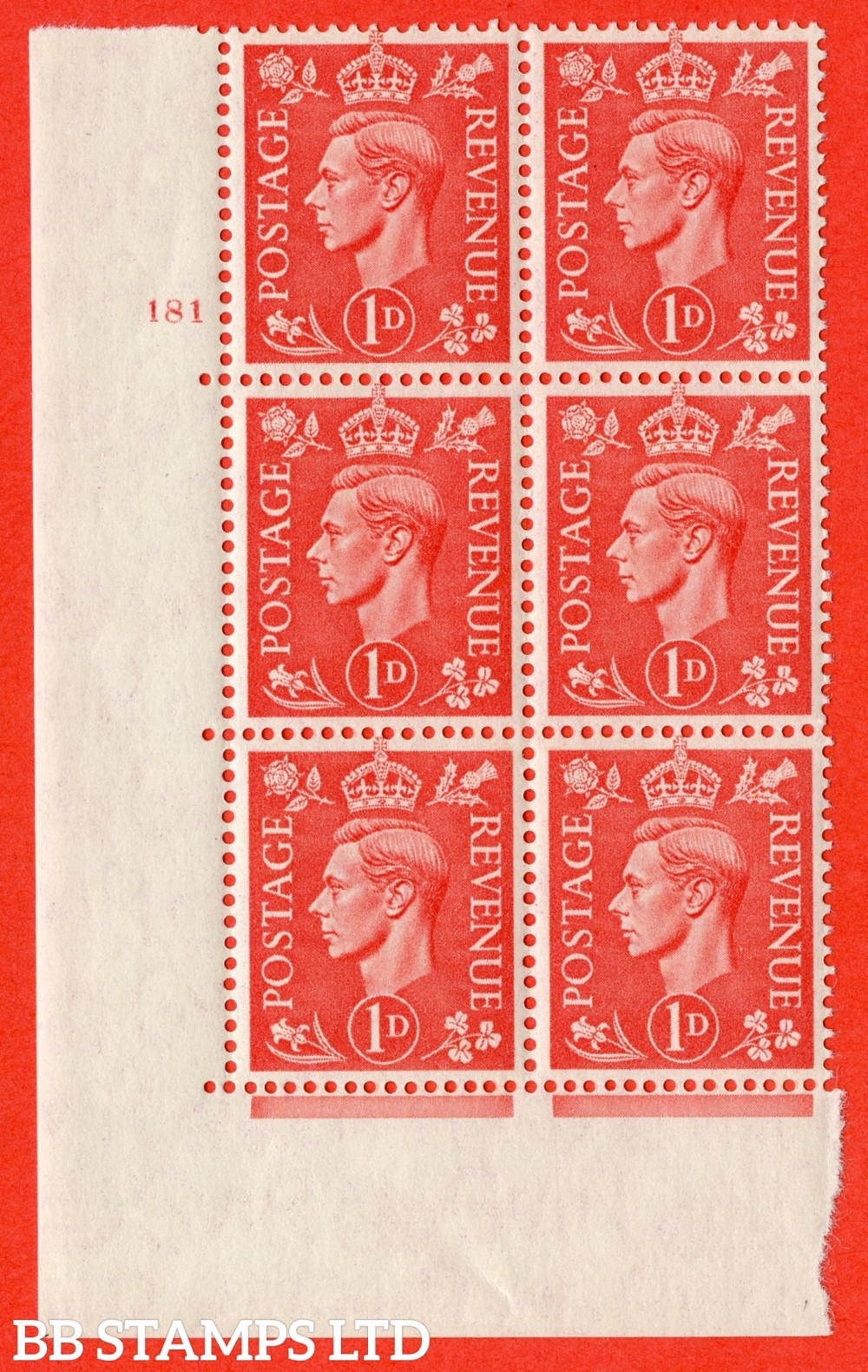 "SG. 486. Q5. 1d Pale scarlet. A superb UNMOUNTED MINT "" No Control   cylinder 181 no dot "" control block of 6 with perf type 5 E/I."