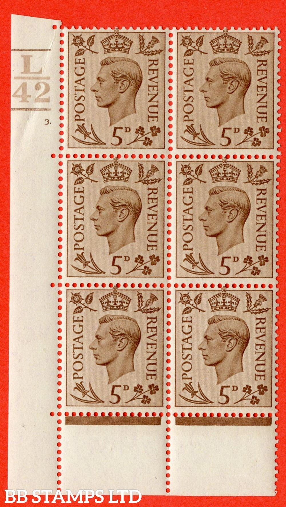 """SG. 469. Q21. 5d Brown. A fine lightly mounted mint.  """" Control L42. 3 Bars cylinder 3 dot """" control block of 6 with perf type 6B E/P."""