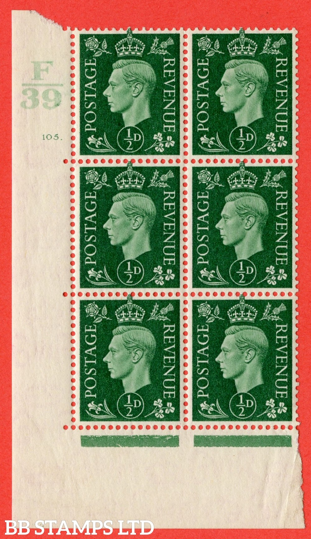 "SG. 462. Q1. ½d Green. A superb UNMOUNTED MINT "" Control F39 cylinder 105 (i) dot "" block of 6 with perf type 5 E/I with marginal rule."