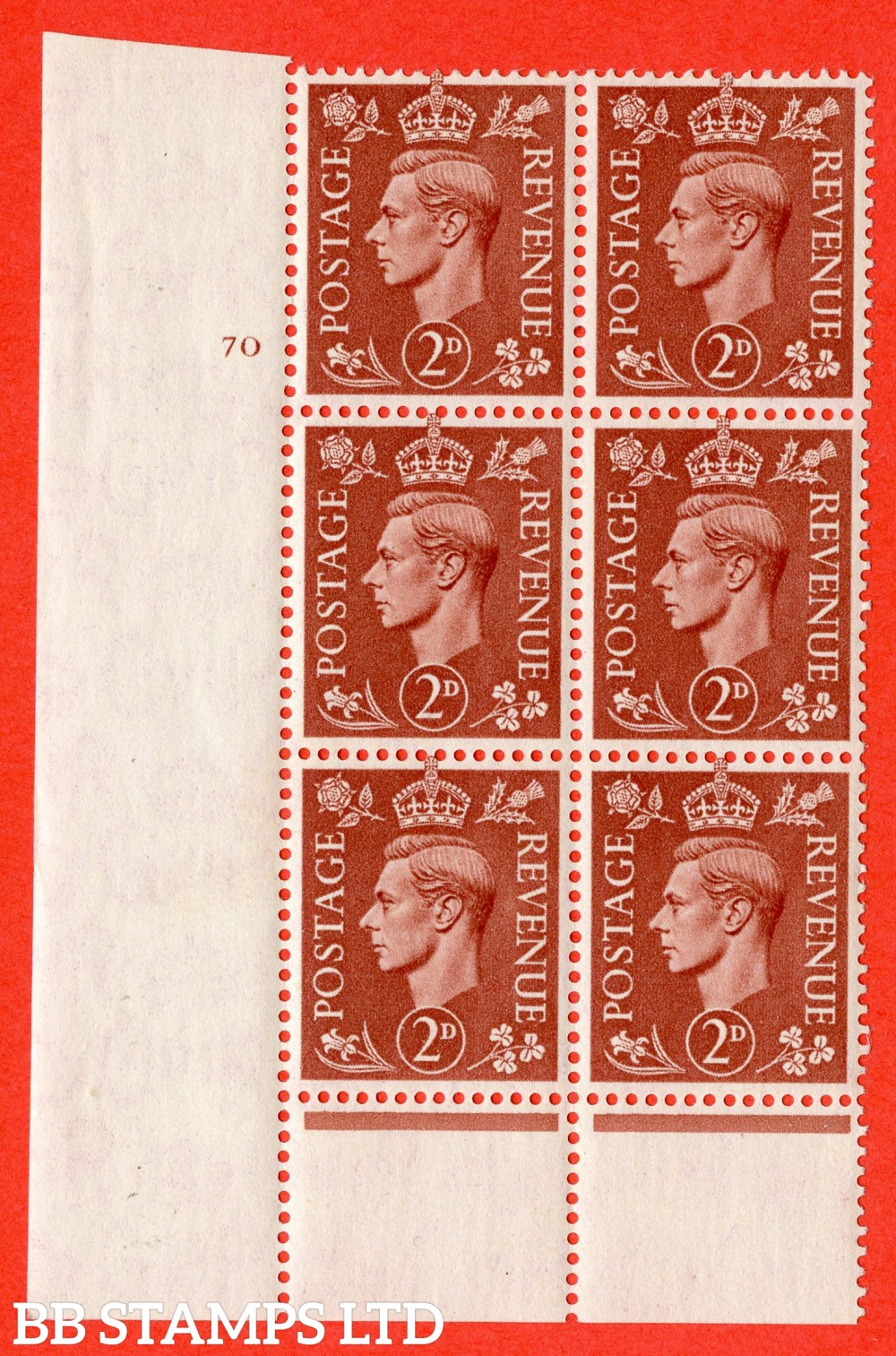 "SG. 506. Q12. 2d Pale Red-Brown. A fine lightly mounted mint "" No Control cylinder 70 dot "" control block of 6 with perf type 5 I/E."