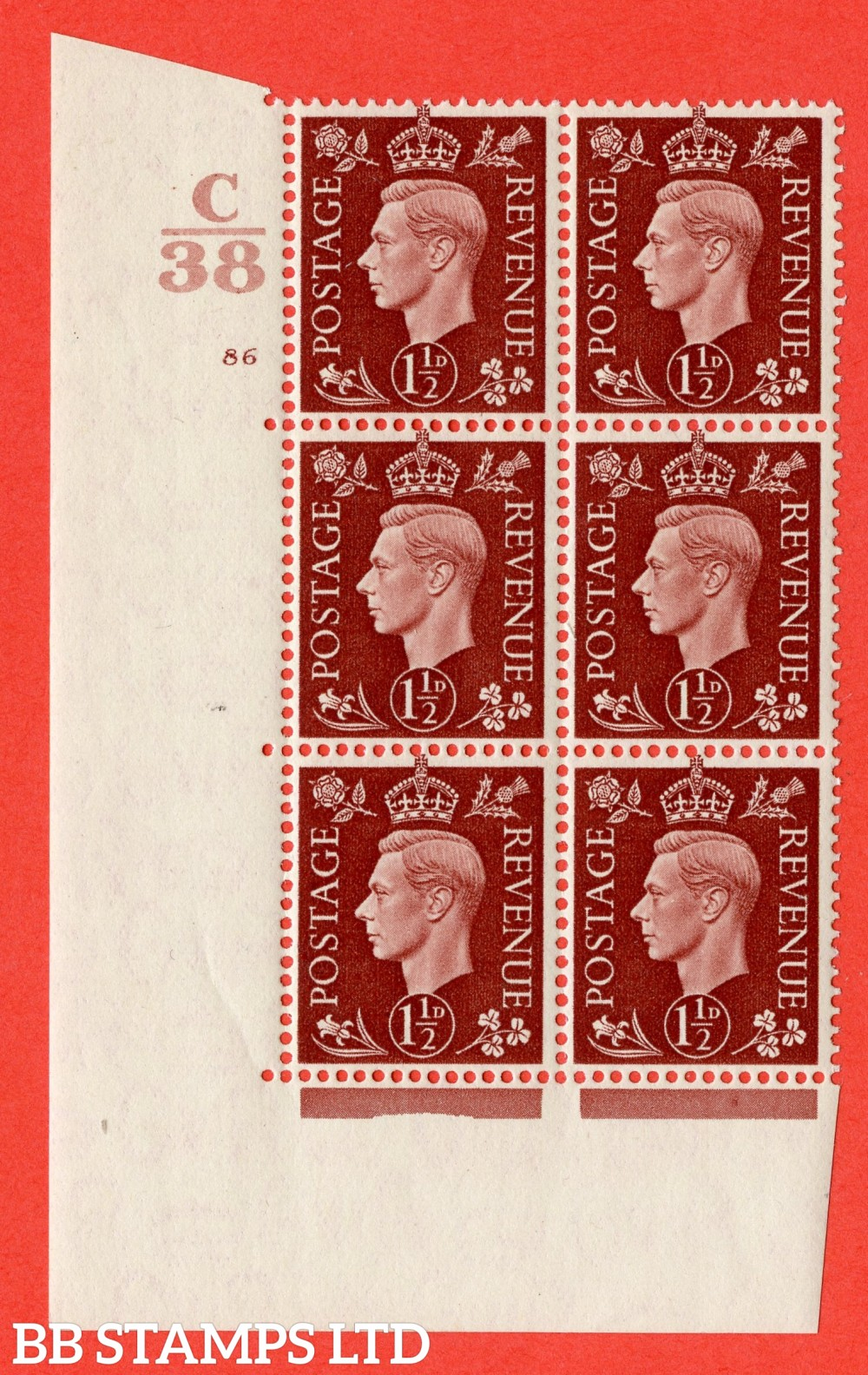 """SG. 464. Q7. 1½d Red-Brown. A superb UNMOUNTED MINT """" Control C38 cylinder 86 no dot """" block of 6 with perf type 5 E/I."""