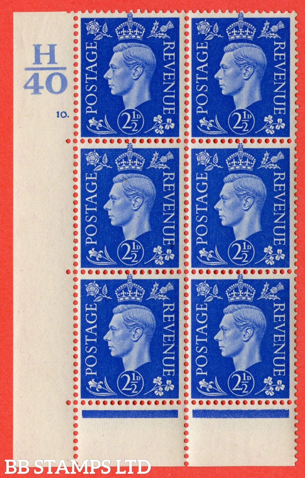 "SG. 466. Q13. 2½d Ultramarine. A superb UNMOUNTED MINT "" Control H40 cylinder 10 dot "" control block of 6 with perf type 6B E/P"
