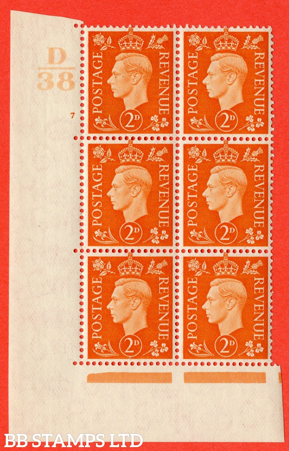 "SG. 465. Q10. 2d Orange. A superb UNMOUNTED MINT "" Control D38 cylinder 7 no dot "" control block of 6 with perf type 5 E/I."