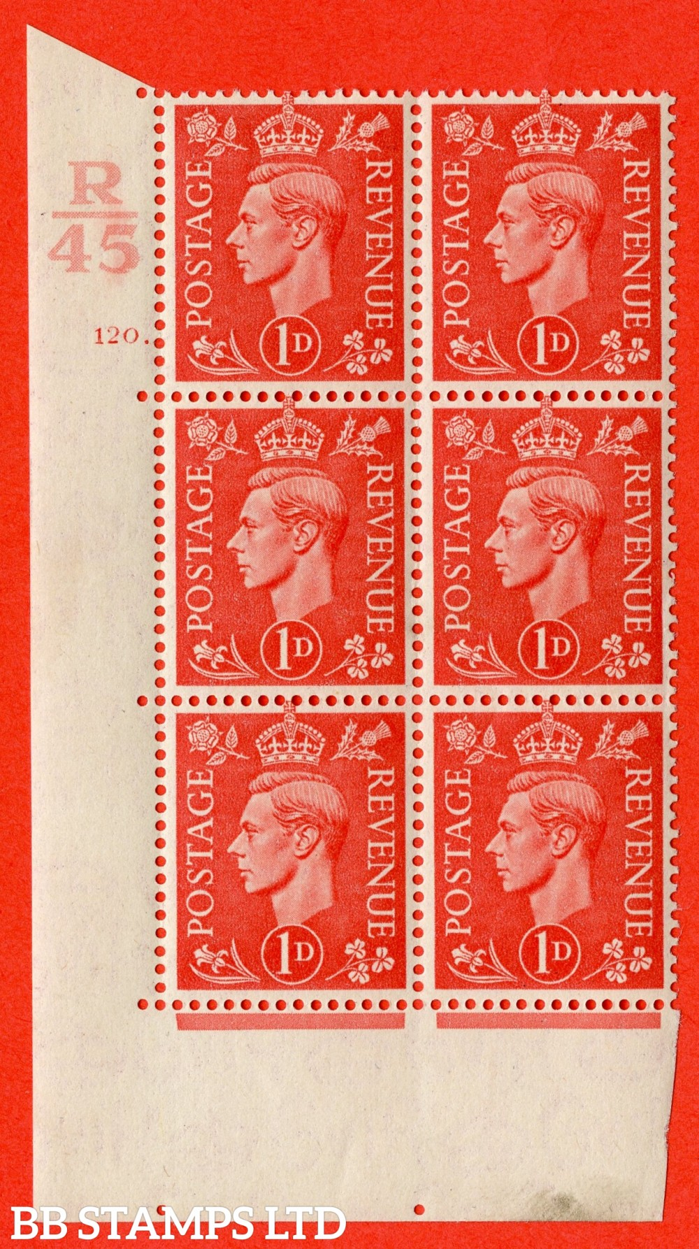 "SG. 486. Q5. 1d Pale scarlet. A superb UNMOUNTED MINT  "" Control R45  cylinder 120 dot "" control block of 6 with perf type 5 E/I."