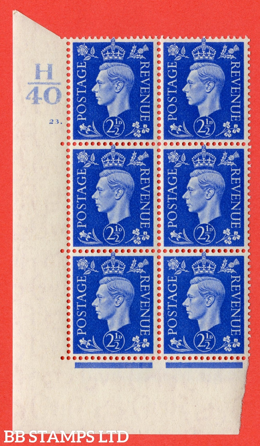 "SG. 466. Q13. 2½d Ultramarine. A superb UNMOUNTED MINT "" Control H40 cylinder 23 dot "" control block of 6 with perf type 5 E/I."