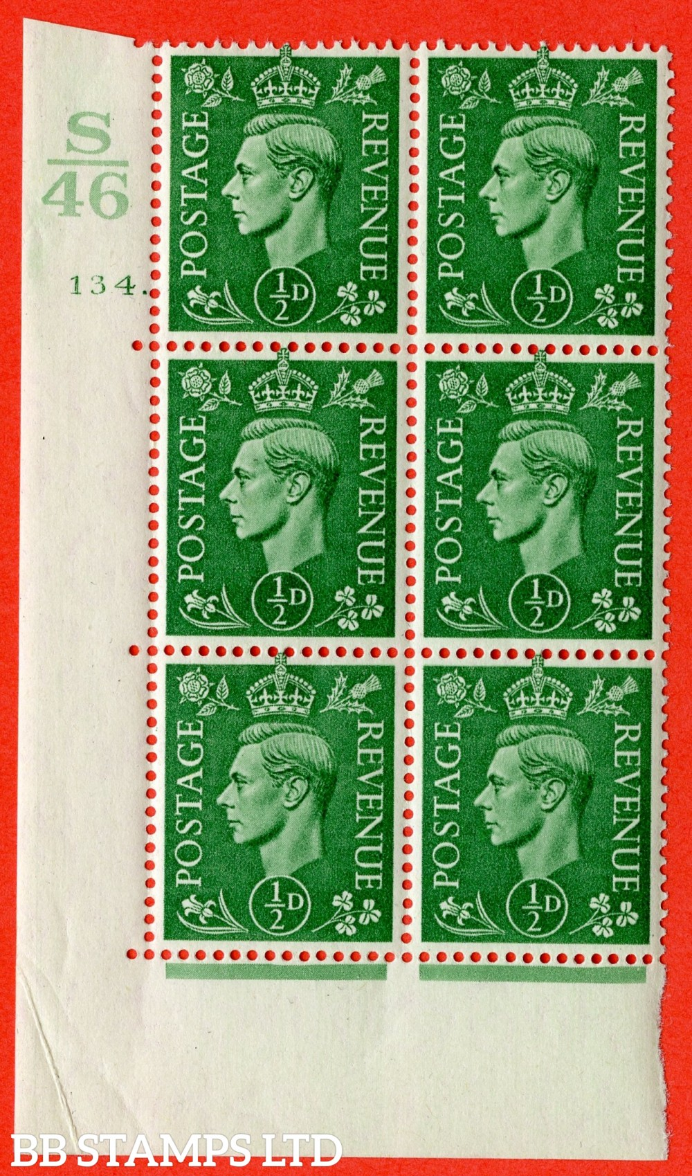 "SG. 485. Q2. ½d Pale Green. A superb UNMOUNTED MINT "" Control S46 cylinder 134 dot "" block of 6 with perf type 5 E/I with marginal rule."