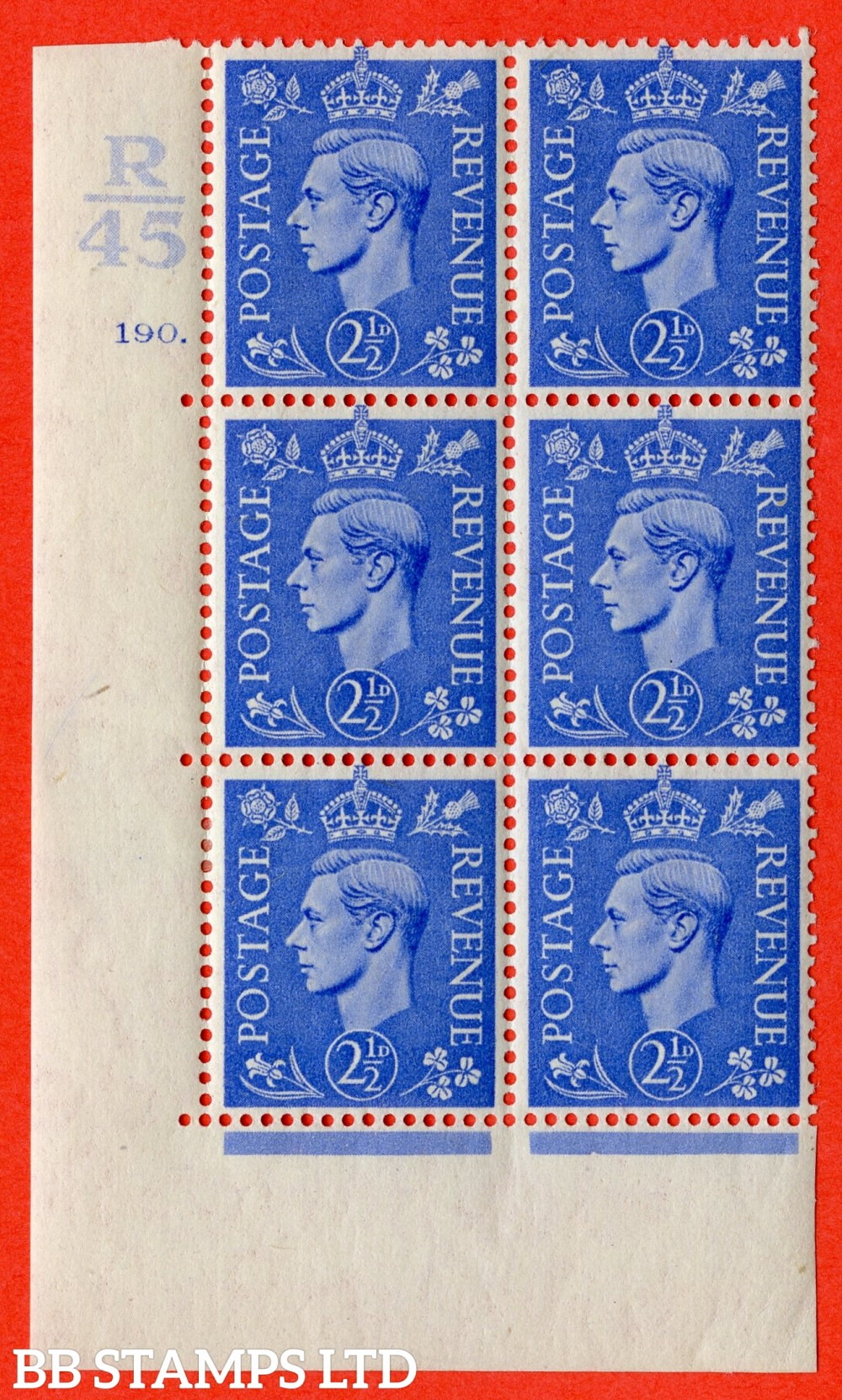 "SG. 489. Q14. 2½d Light ultramarine. A fine lightly mounted mint "" Control R45 cylinder 190 no dot "" control block of 6 with perf type 5 E/I."